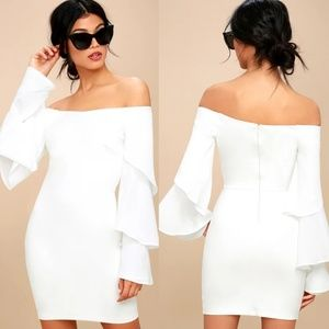 Lulu's Mon Cherie Off-the-Shoulder Bodycon Dress
